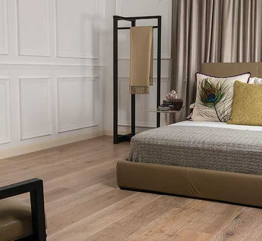 Engineered Prestige Oak flooring for bedroom installation