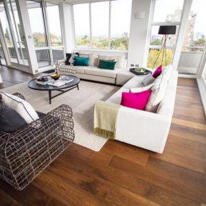 Engineered prestige oak flooring for living room installation