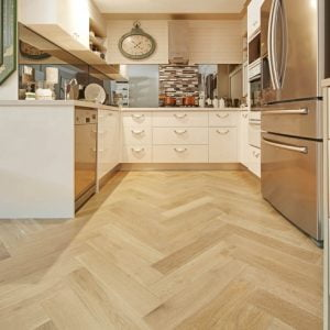 De Marque Oak Parquetry engineered flooring kitchen installation by Floors By Nature