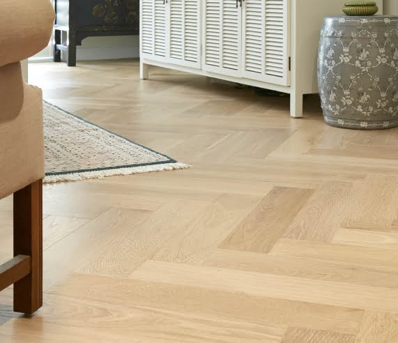 De Marque Oak Parquetry engineered flooring living room installation by Floors By Nature