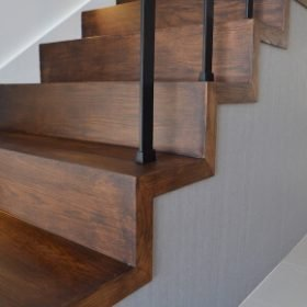 timber stairs with railing