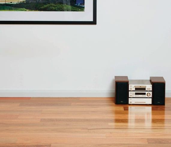 radio set sitting on polished timber floors
