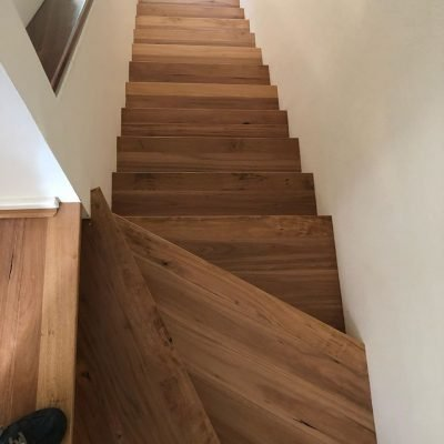 Blackbutt stairs installed in Perth home by Floors By Nature